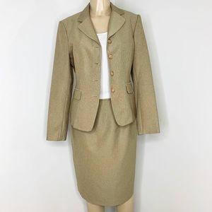 EMILY Tan Suit Jacket & Skirt Set Size 10